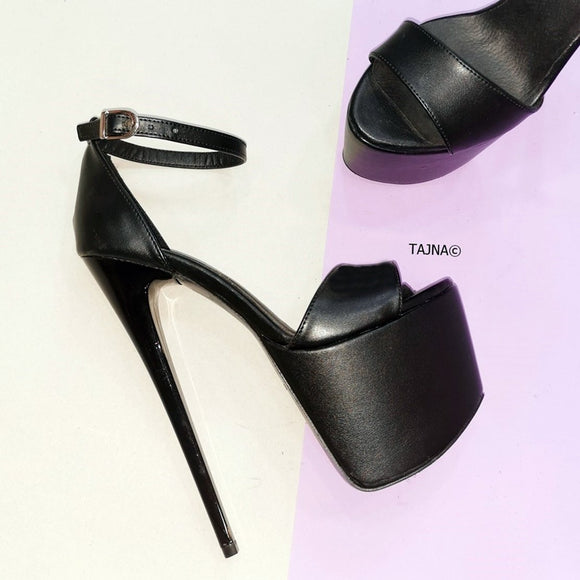 Black Ankle Strap High Heel Platform Sandals - Tajna Club
