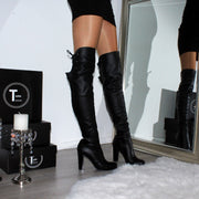 Knee High Black Leather Chunky Heel Boots - Tajna Club