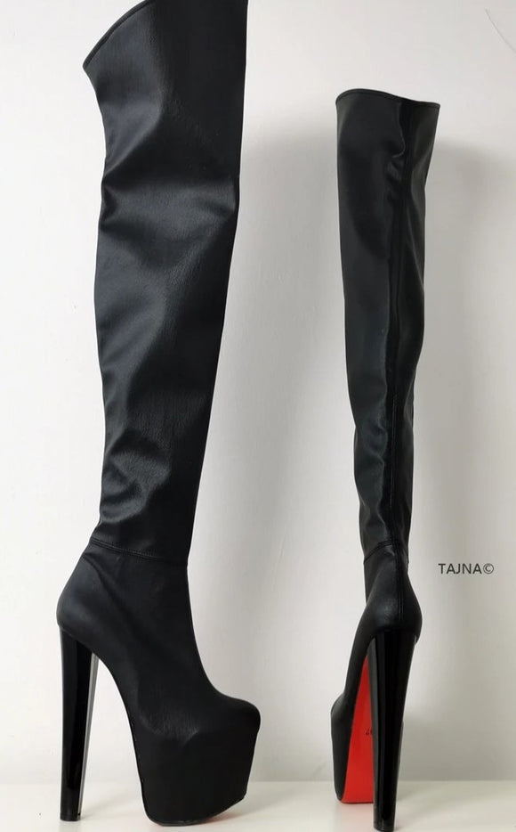 Black Over The Knee Boots - Tajna Club