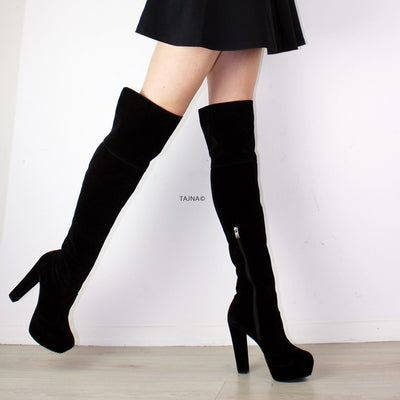 Black Knee High Platform Boots - Tajna Club