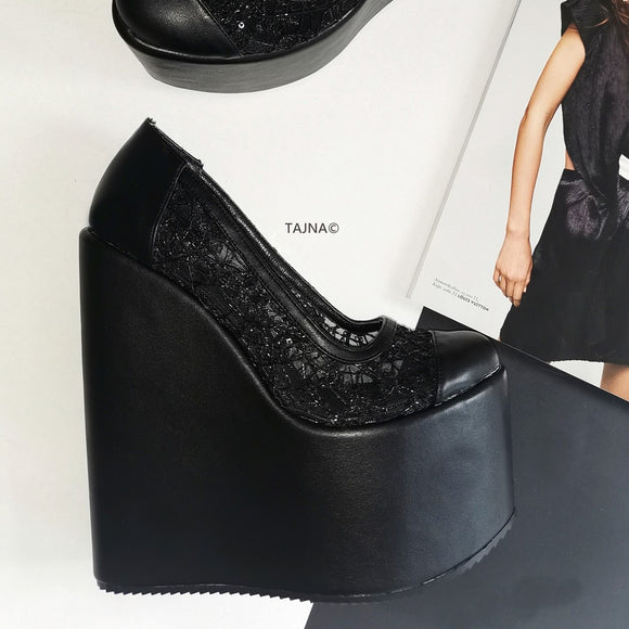 Black Lace  High Heel Wedges - Tajna Club