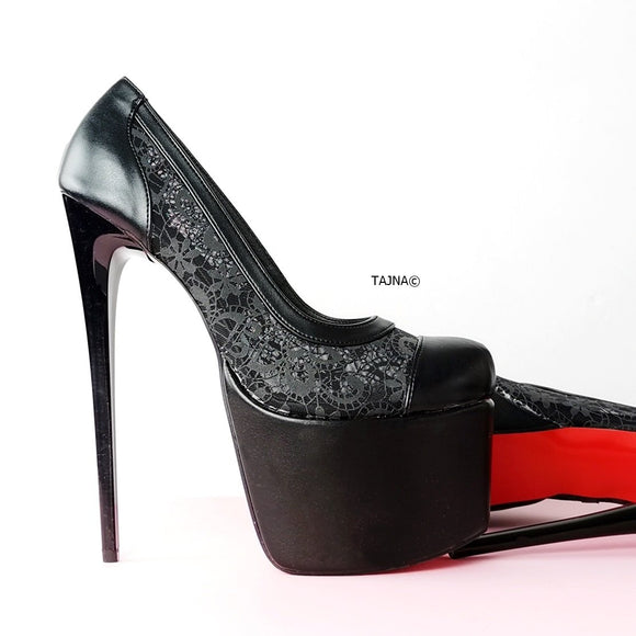 Black Lace Red Sole High Heels - Tajna Club