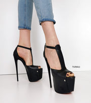 T Strap Peep Toe High Heels - Tajna Club