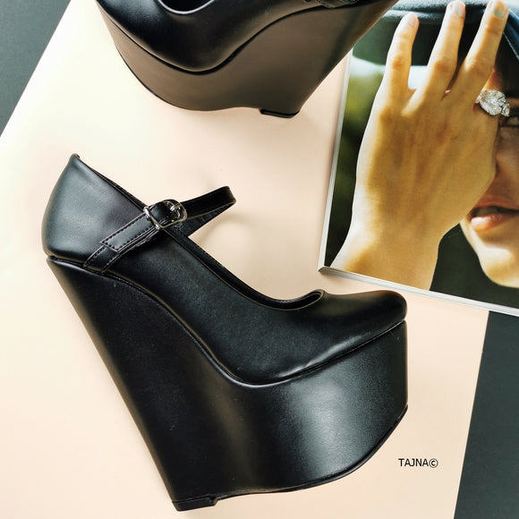 Black Mary Jane High Heel Wedges - Tajna Club