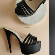 Multi Strap Black High Heel Mules - Tajna Club