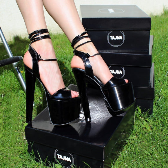19 cm Black Patent Leather Lace Up High Heels - Tajna Club