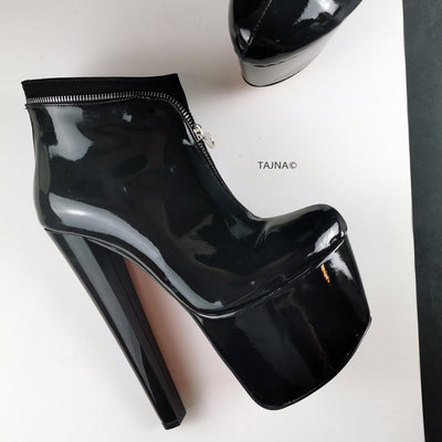 Black Patent Zipper Detail Ankle Boots - Tajna Club