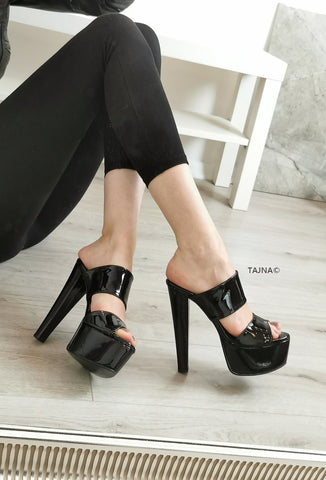 Black Patent  Double Strap Mules - Tajna Club