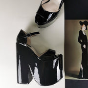 Black Patent Extreme Heel Strap Wedge Shoes - Tajna Club