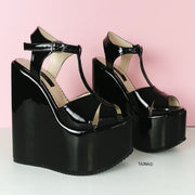 Black Patent Extreme Heel Wedge Sandals - Tajna Club