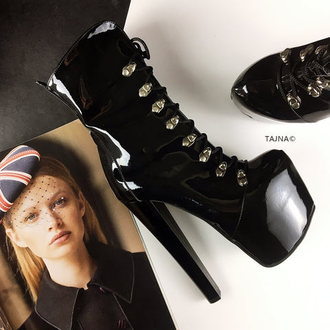 Patent Black Military Style Ankle Boots - Tajna Club