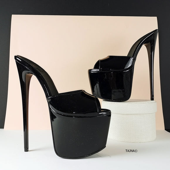 Hot Black Patent High Heel Mules - Tajna Club