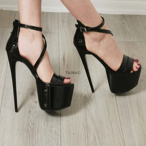 Black Patent Thin Strap Platforms - Tajna Club
