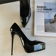 14 cm Platform Stiletto Black Patent - Tajna Club