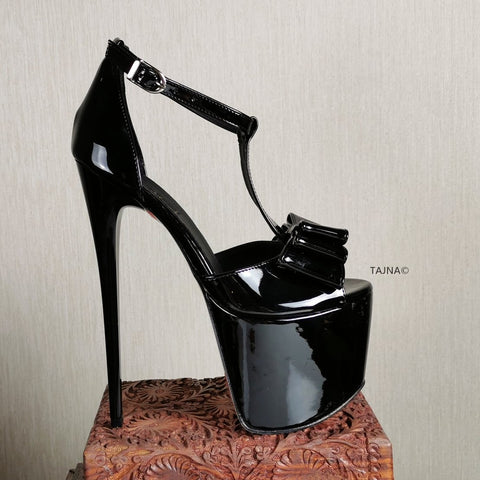 Black Patent Ribbon High Heel Platforms - Tajna Club