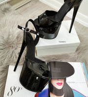 Black Patent High Heel Platform Sandals - Tajna Club