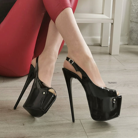 Black Patent Pencil Heel Platform Sandals - Tajna Club