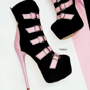 Pink Black Multi Belted Ankle Boots - Tajna Club