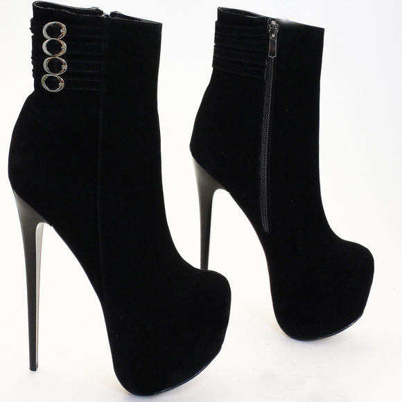 Belted Black Suede High Heel Boots - Tajna Club