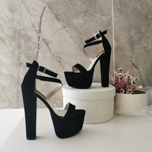 Black Suede Single Strap Platforms - Tajna Club
