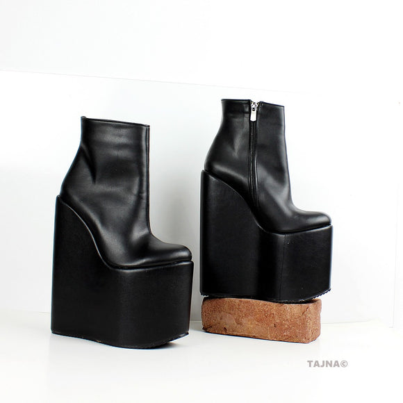 Black High Heel Wedge Booties - Tajna Club