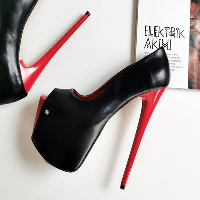 Black Red Peep Toe 19 cm High Heels - Tajna Club