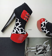 Red Black Leopard Belted Booties - Tajna Club