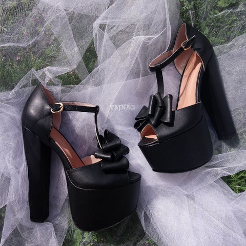 Black Ribbon Detail Chunky High Heel Platform Shoes - Tajna Club