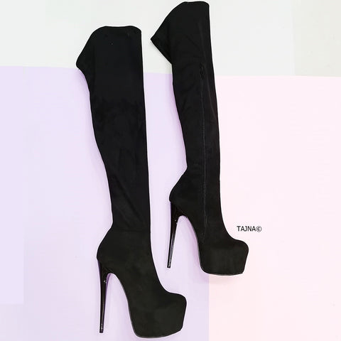 Black Suede Strech Thigh High Platform Boots - Tajna Club