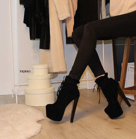 Black Suede Lace Up Designer  Boots - Tajna Club