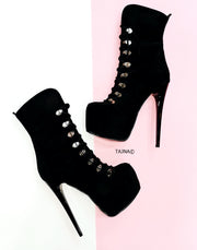 Black Suede Military Style Ankle Boots - Tajna Club