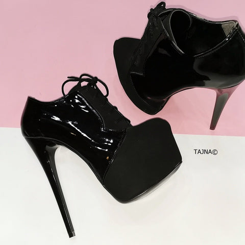 Oxford Black Suede Patent Ankle Booties - Tajna Club