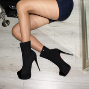 Black Chapeau High Heel Platform Boots - Tajna Club