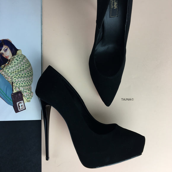 14 cm Platform Stiletto Black Suede - Tajna Club