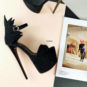 Black Suede High Heel Dahlia Sandals - Tajna Club