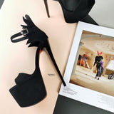 Dahlia Black Suede High Heel Sandals - Tajna Club