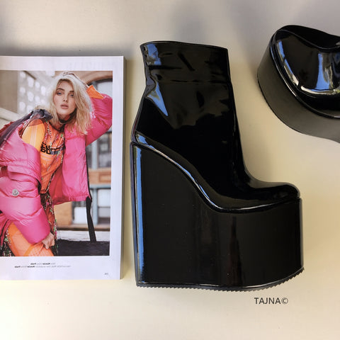 Black Patent High Heel Wedge Boots - Tajna Club
