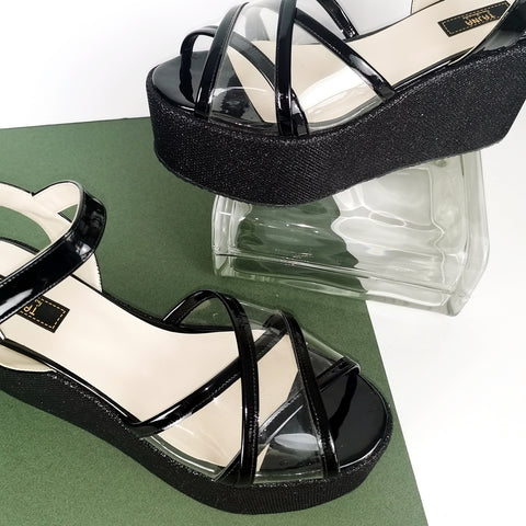 Black Shiny Transparent Strap Wedge Sandals - Tajna Club