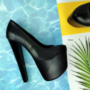 Black Classic Chunky Heel Pumps - Tajna Club