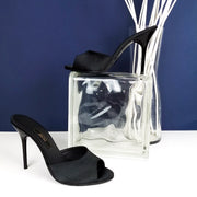 Black Satin Heeled Mules - Tajna Club
