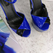 Black Blue Gloss Designer Strap High Heels - Tajna Club