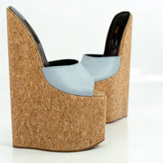 Soft Blue Cork Extreme High Heel Mules - Tajna Club