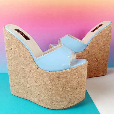 Blue Patent Cork Wedge Mules - Tajna Club