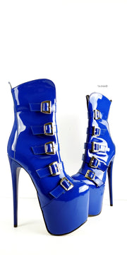 Blue Gloss Patent Multi Belted Platform Boots - Tajna Club