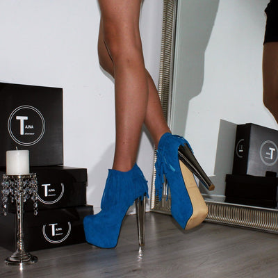 Fringe Blue High Heel Platform Ankle Boots - Tajna Club