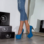 Blue Suede Classic Platform Pumps - Tajna Club