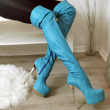 Blue Strech Knee High Boots - Tajna Club