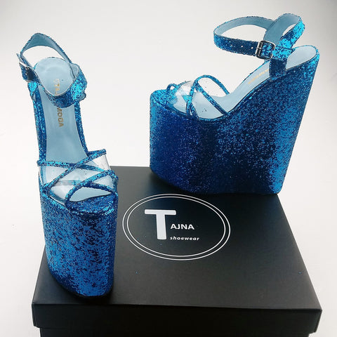 30 cm Blue Shinny Cross Strap Platform Wedges - Tajna Club