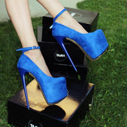 Ankle Strap Blue Faux Suede High Heel Platform Shoes - Tajna Club