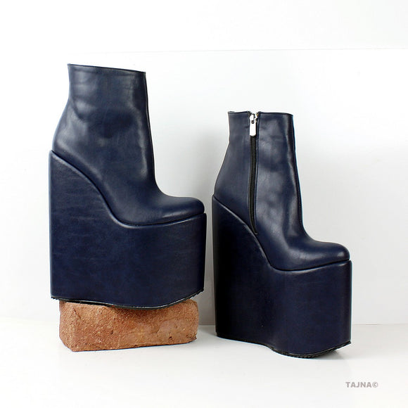 Dark Blue High Heel Wedge Booties - Tajna Club